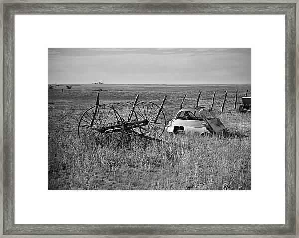 Isetta And Hay Rake Framed Print