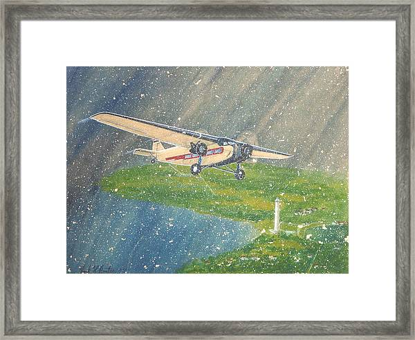 Island Airlines Ford Trimotor Over Put-in-bay In The Winter Framed Print