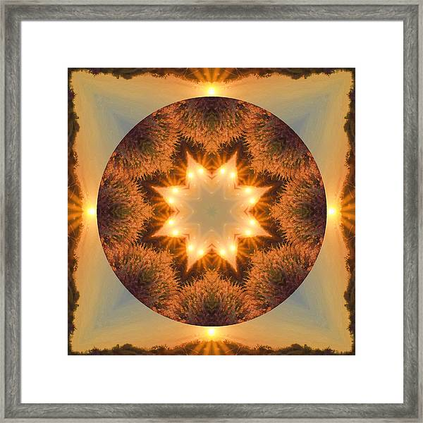 Framed Print featuring the photograph Island Beach Sunset Mandala by Beth Sawickie