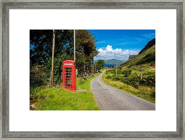 Traditonal British Telephone Box On The Isle Of Mull Framed Print