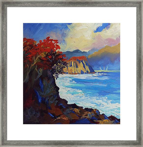 Islands Seascape Original Oil Painting Framed Print