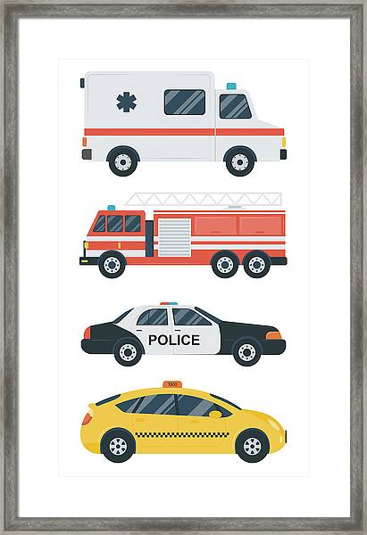 Isolated Transport Icons. Police Car Framed Print
