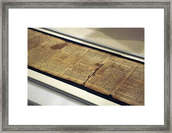 Israel Museum Displays Dead Sea Scrolls Framed Print by Lior Mizrahi