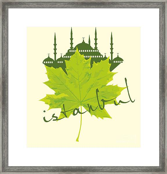 Istanbul City And Sycamore Leaf Vector Framed Print