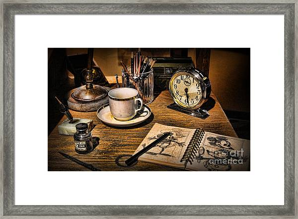It Was All Started By A Mouse - Walt Disney's Desk Framed Print