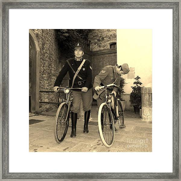 Italian Vintage Firemen Cyclists Framed Print