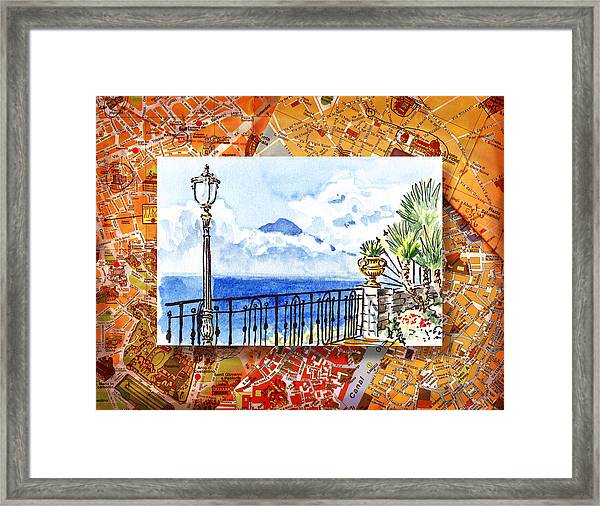 Italy Sketches Sorrento View On Volcano Vesuvius  Framed Print