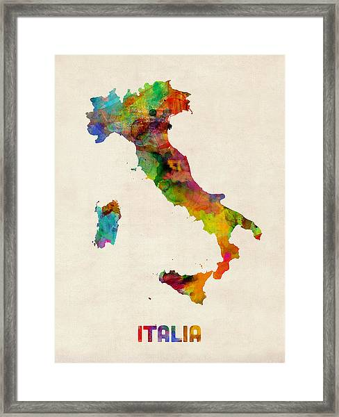 Italy Watercolor Map Italia Framed Print