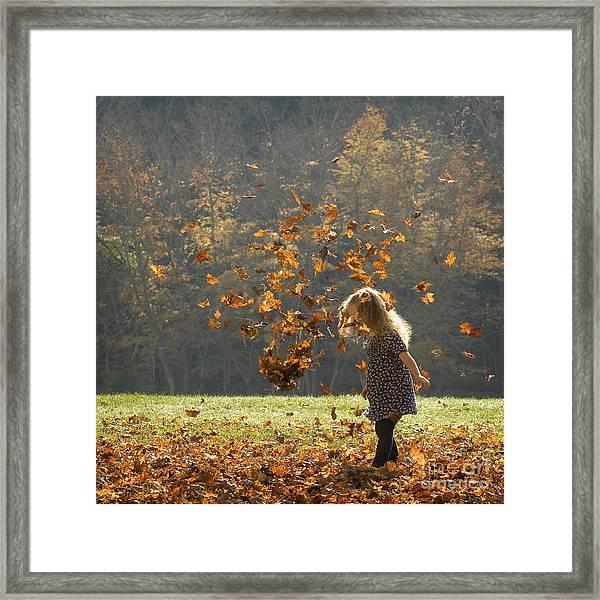 It's Raining Leaves Framed Print