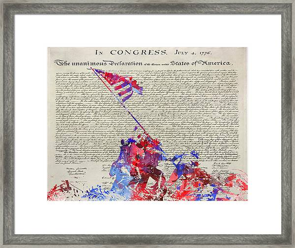Iwo Jima Declaration Of Freedom Framed Print