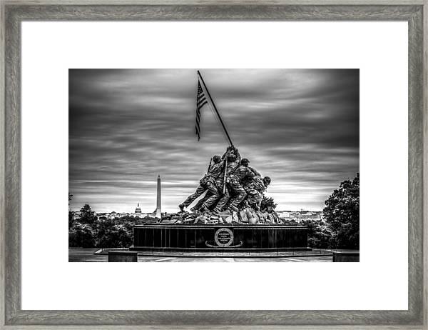 Iwo Jima Monument Black And White Framed Print