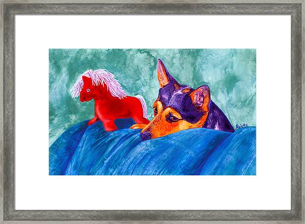 Jack And Red Horse Framed Print