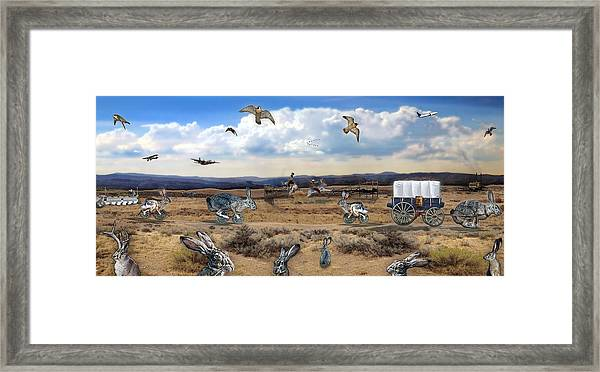 Jackrabbit Juxtaposition  At Owyhee View Framed Print