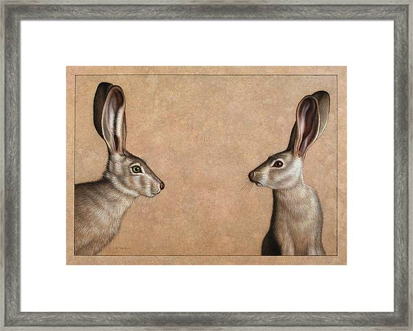 Framed Print featuring the painting Jackrabbits by James W Johnson