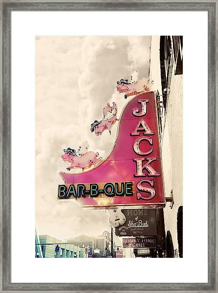 Jacks Bbq Framed Print
