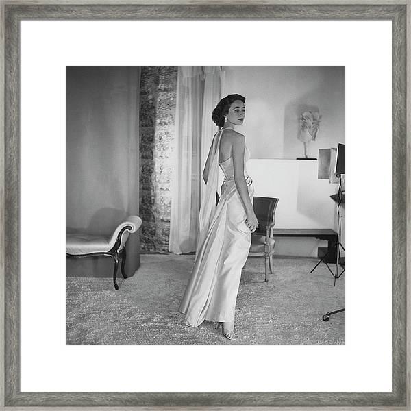 Jacqueline De Ribes Wearing A Desses Dress Framed Print by Horst P. Horst