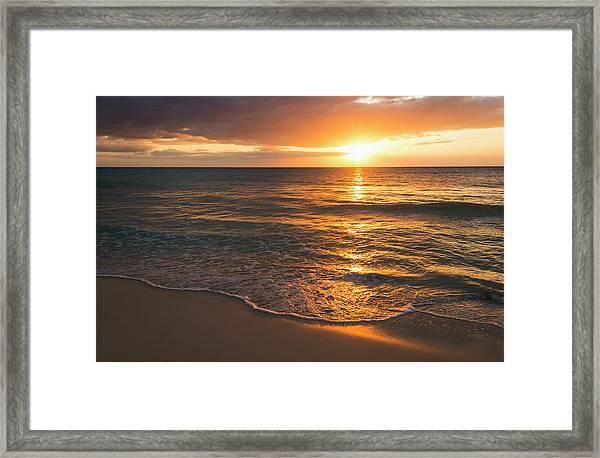 Jamaica, Sun Setting Over Sea Framed Print