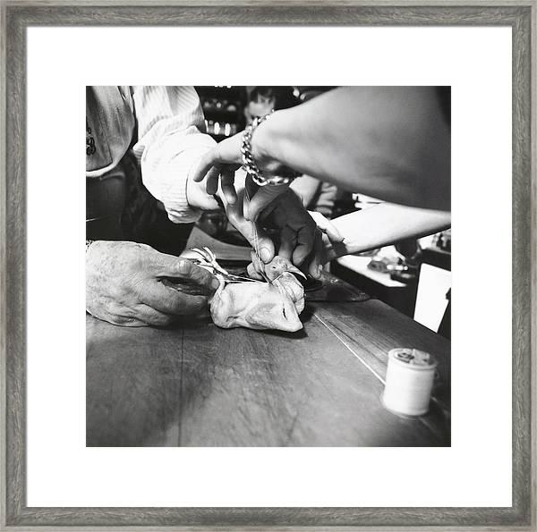 James Beard Preparing Squab Framed Print