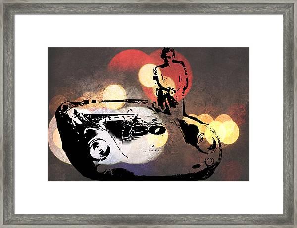 James Dean And Little Bastard Framed Print