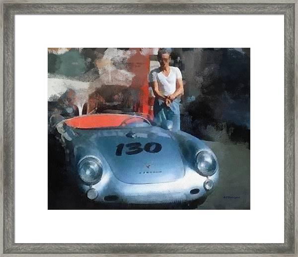 James Dean With His Spyder Framed Print