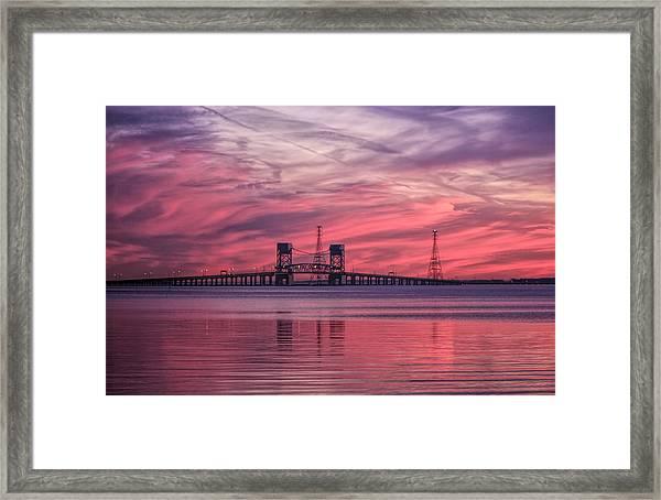 James River Bridge At Sunset Framed Print