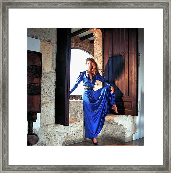 Janice Dickinson Wearing Blue Dress Framed Print