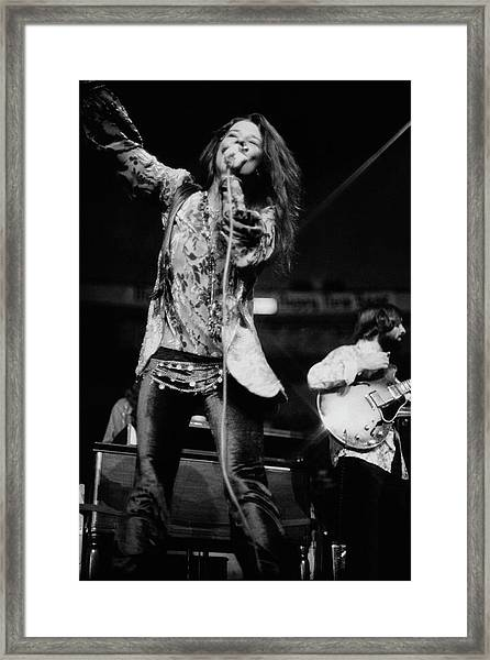 Janis Joplin On Stage Framed Print