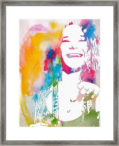Janis Joplin Watercolor Framed Print