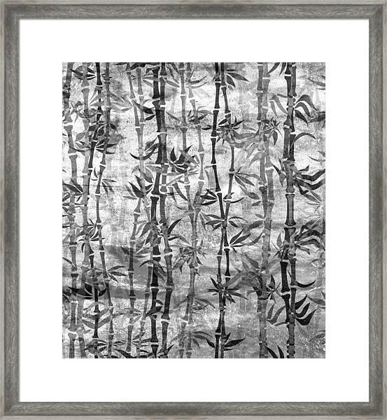 Japanese Bamboo Grunge Black And White Framed Print