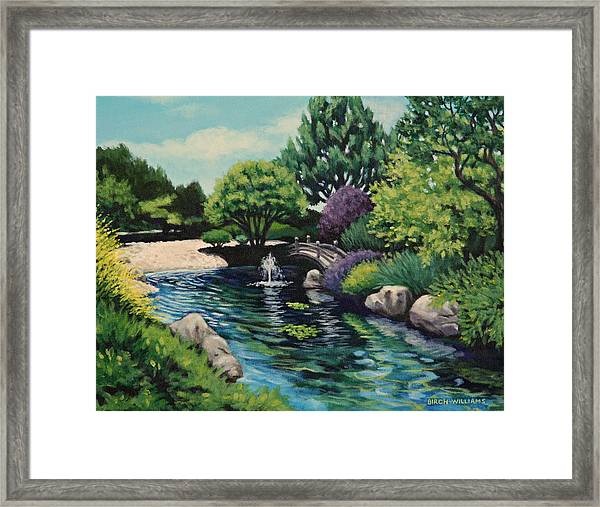 Japanese Garden Fountain View Framed Print by Penny Birch-Williams