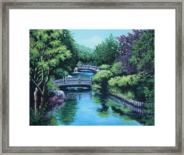 Japanese Garden Two Bridges Framed Print