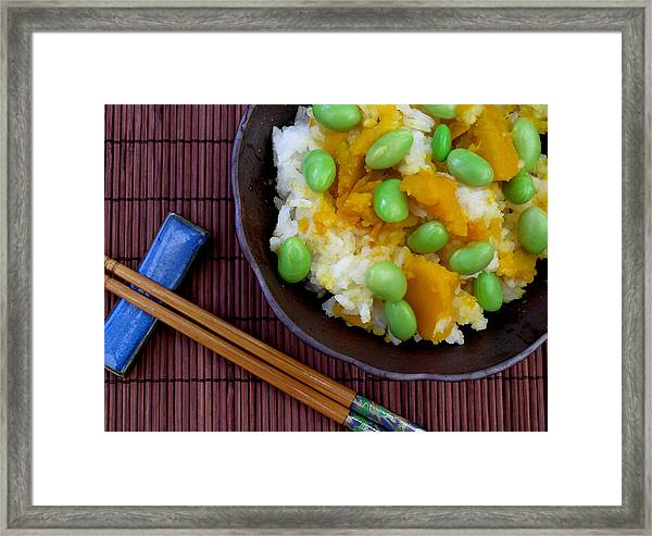 Japanese Kabocha Squash Rice With Edamame Framed Print by James Temple