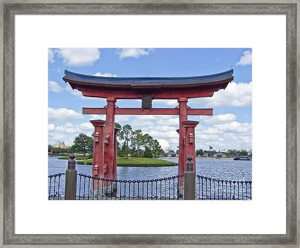 Japanese Torri Gate At Epcot Framed Print
