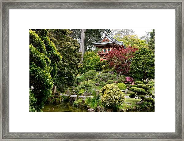 Japanese Village Gardens In San Francisco Framed Print