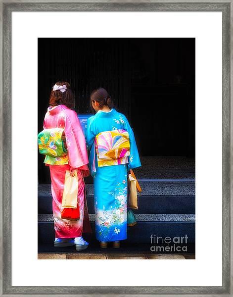 Japanese Women Wearing Beautiful Kimono Framed Print