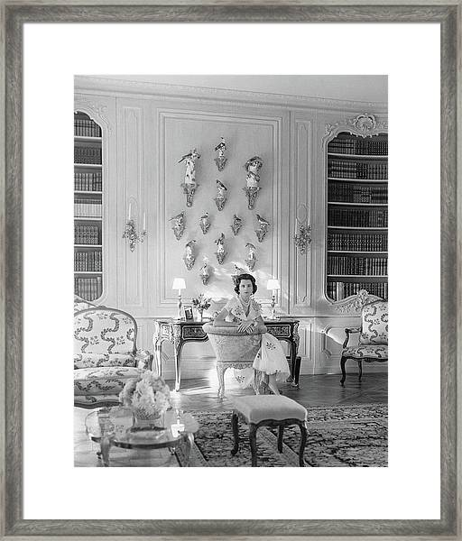 Jayne Wrightsman In Her Library In Palm Beach Framed Print