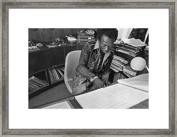 Jazz Musician Miles Davis Composing Framed Print by Mark Patiky