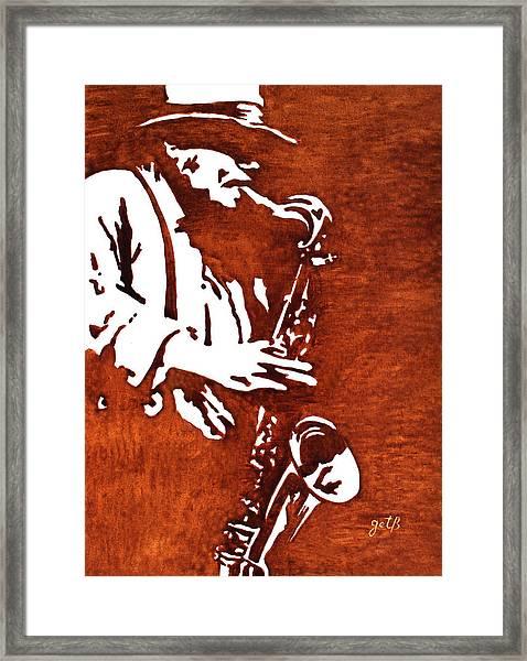 Jazz Saxofon Player Coffee Painting Framed Print