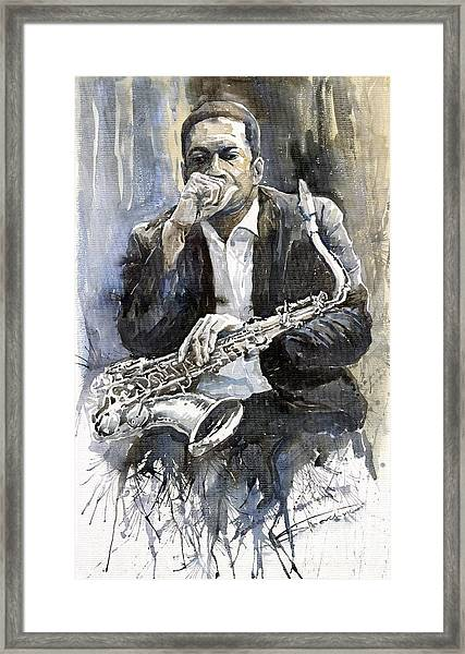 Jazz Saxophonist John Coltrane Yellow Framed Print