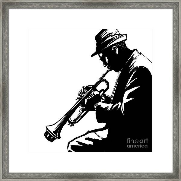 Jazz Trumpet Player-vector Illustration Framed Print