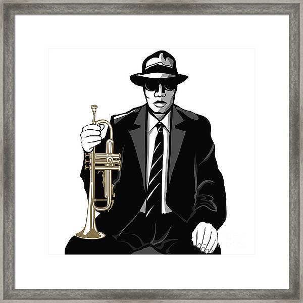 Jazz Trumpet Player - Vector Framed Print