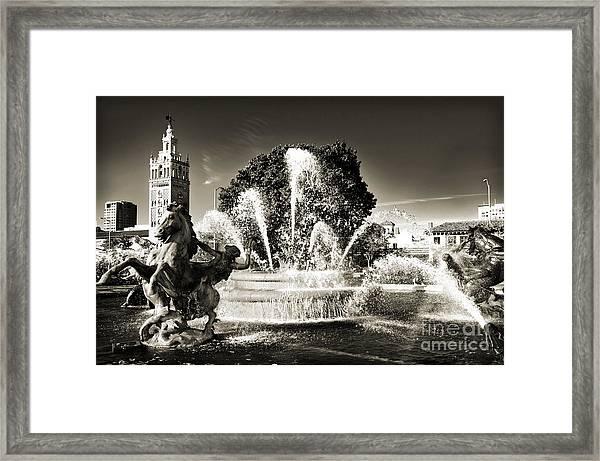 Jc Nichols Memorial Fountain Bw 1 Framed Print
