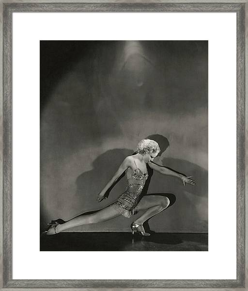 Jean Barry In Evergreen Framed Print by George Hoyningen-Huene