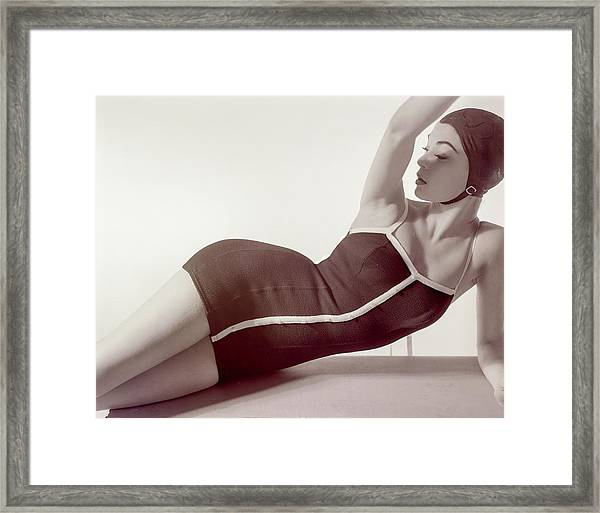 Jean Patchett Wearing A Sacony Swimsuit Framed Print
