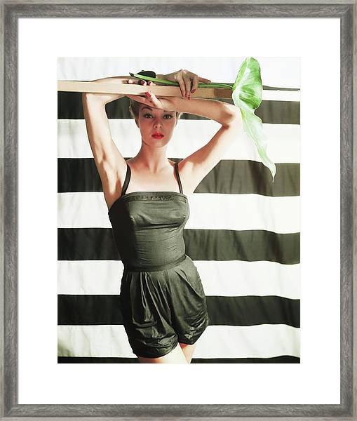 Jean Patchett Wearing Black Sunsuit Framed Print