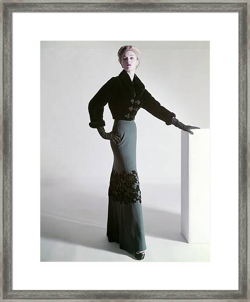Jean Patchett Wears A Mainbocher Jacket Framed Print by Horst P. Horst