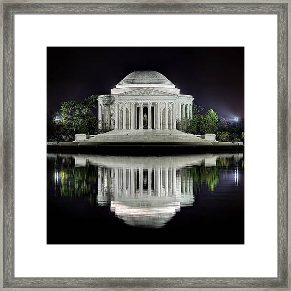 Jefferson Memorial - Night Reflection Framed Print