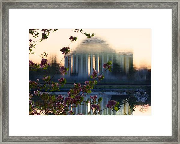 Jefferson Memorial Reflection With Cherry Blossoms Framed Print
