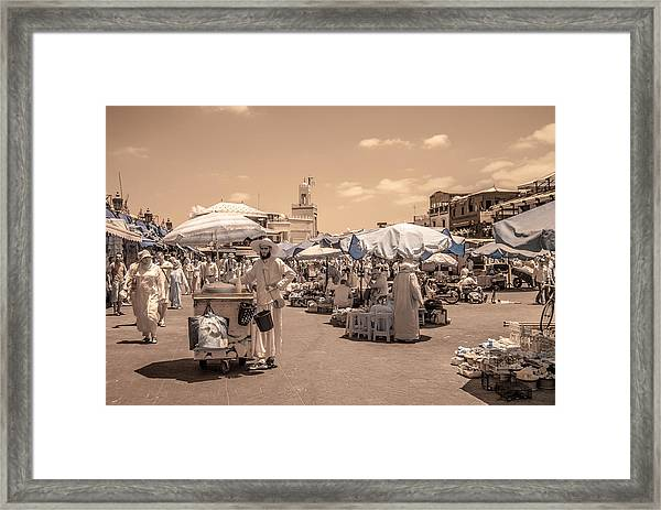 Jemaa El Fna Market In Marrakech Framed Print