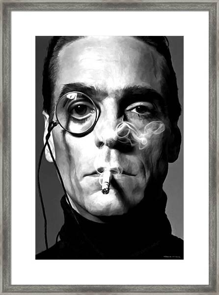 Jeremy Irons Portrait Framed Print